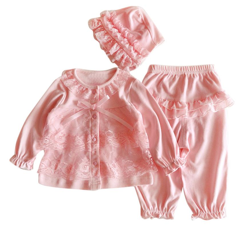 Infant Girls Lace and Ruffles 3-Piece Set