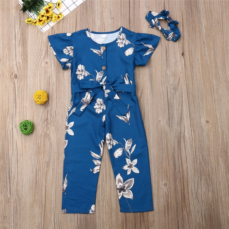 Girls Blue Floral Jumpsuit w/ Matching Headband