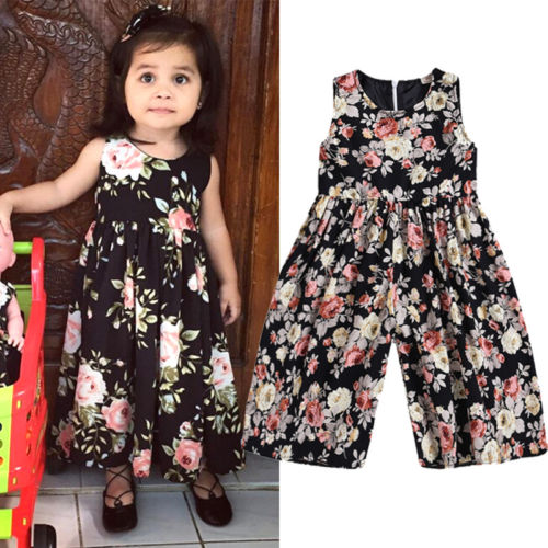Girls Flare Leg Floral Jumpsuit