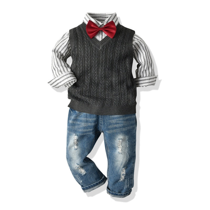 Boys 3 Piece Wool Vest Bow Tie Jeans Set