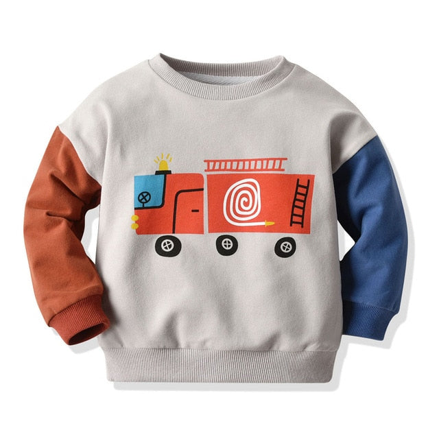 Boys Fire Engine Print Pullover
