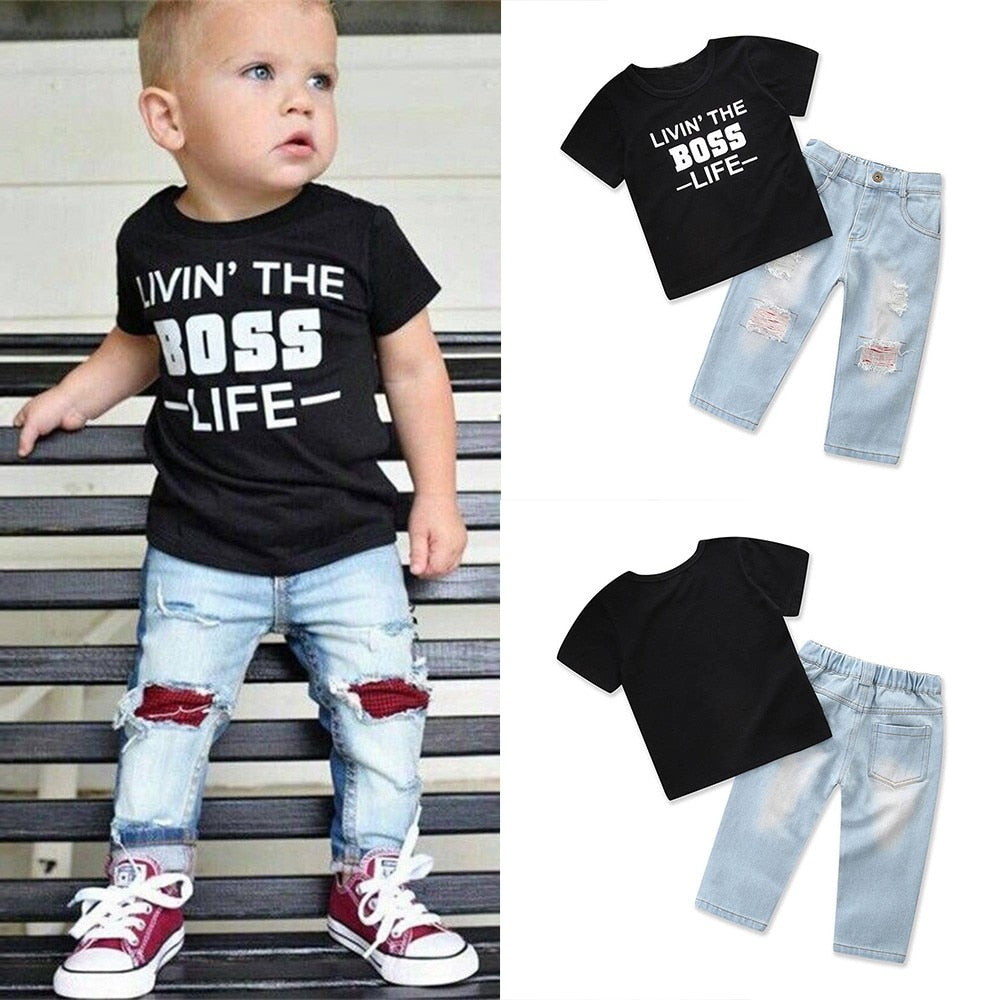 Boss Print T-shirt Jeans Set