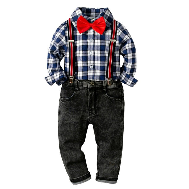 Bowtie Gentleman Denim Pants Set
