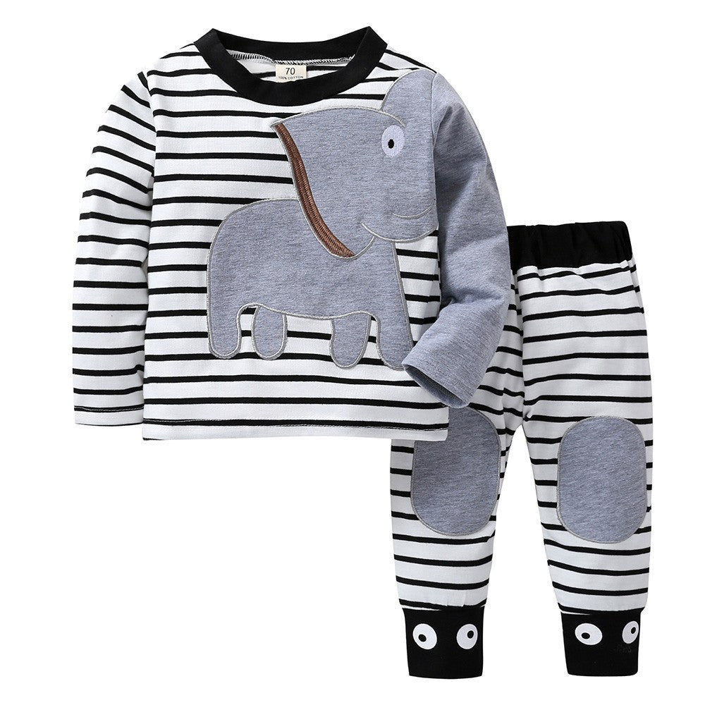 Infants Elephant Striped Print Pants Set