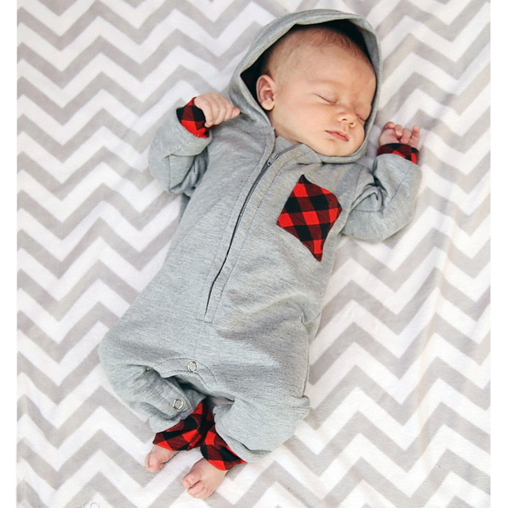 Infants Plaid Hooded Coveralls