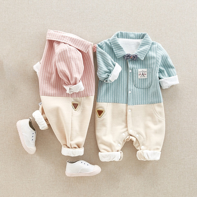 Infants Soft Cotton Bowtie Romper