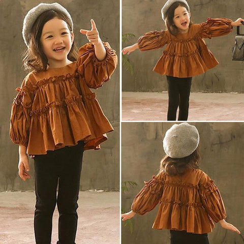 Girls Pleated Blouse with Leggings