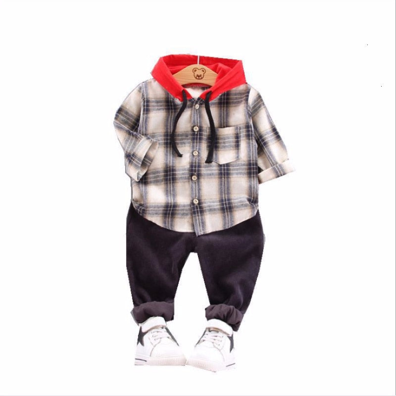Boys Hooded Shirt and Pants Set