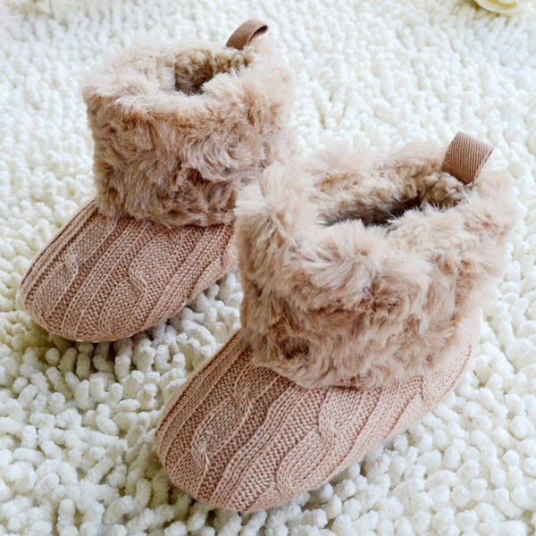 Infants Furry Knitted Snow Boots Slippers