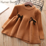 Autumn/Winter Girls Sweater Dress With Bow Accents
