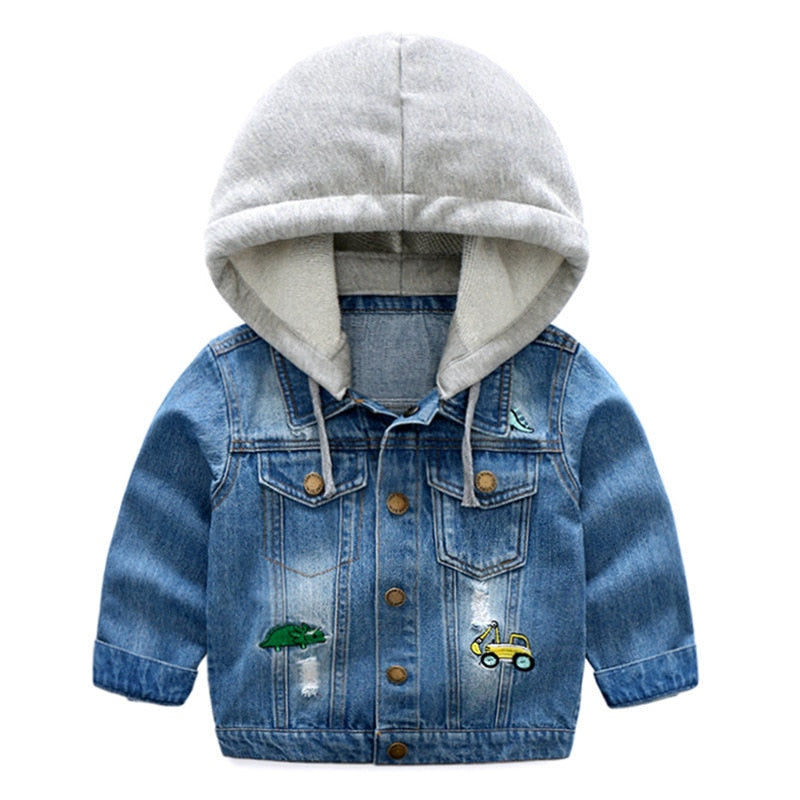 Boys Hooded Patch Jean Jacket