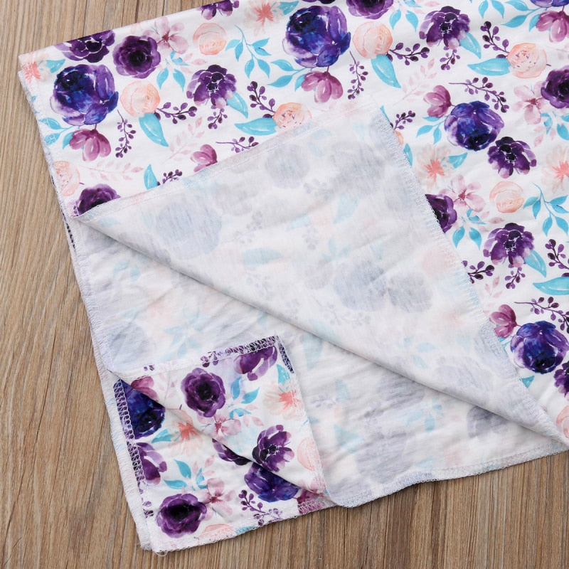 3-Piece Floral Wrap Swaddling Blanket Set