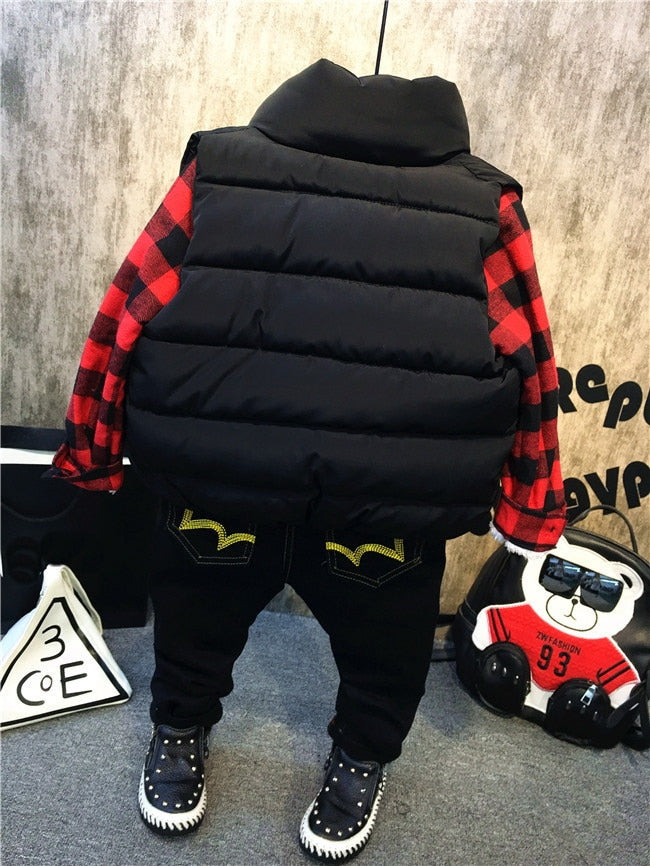 Boys 3pc Puffer Vest Set