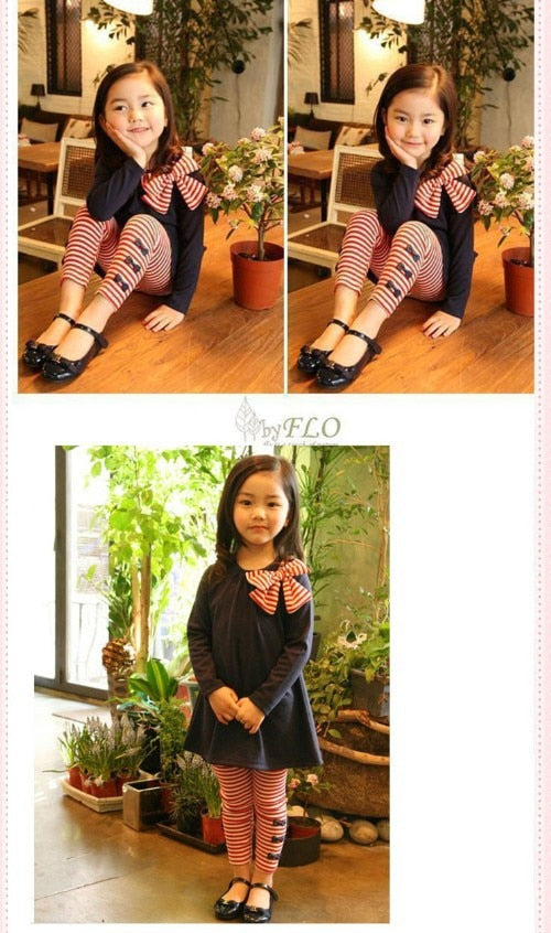 Girls Long Sleeve Bow Top and Pants Set