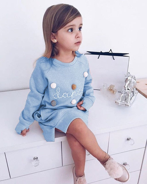 Letter Embroidery Sweatshirt Pullover Dress