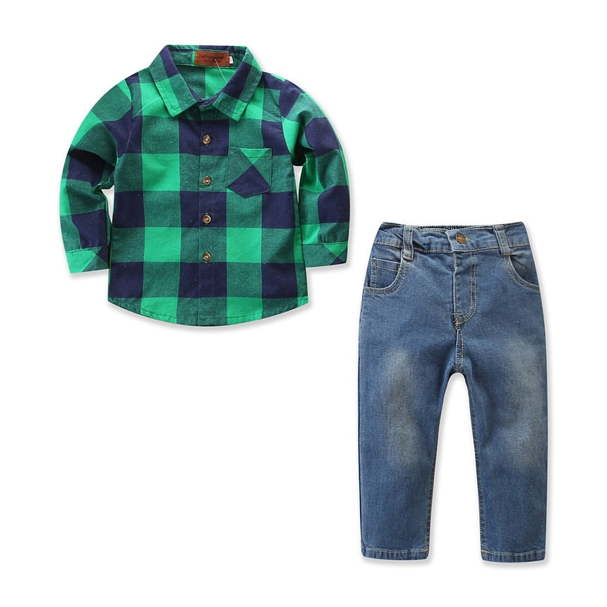 Gentleman Green Plaid Shirt and Jeans Set