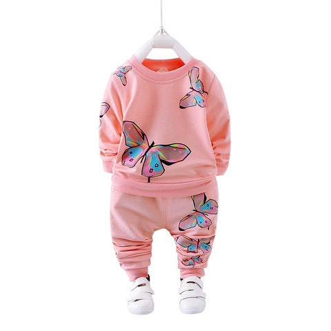 Girls Butterfly Print Sweatshirt and Pants Set