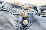 Girls Flower Lace Jeans