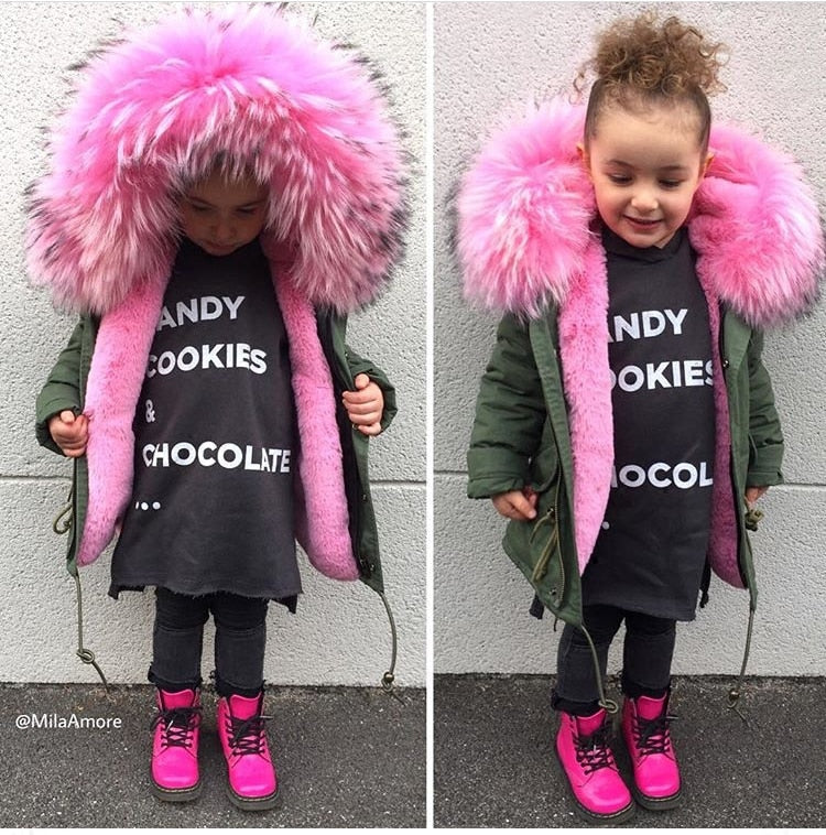 Girls Down Furry Mega Hood Parka