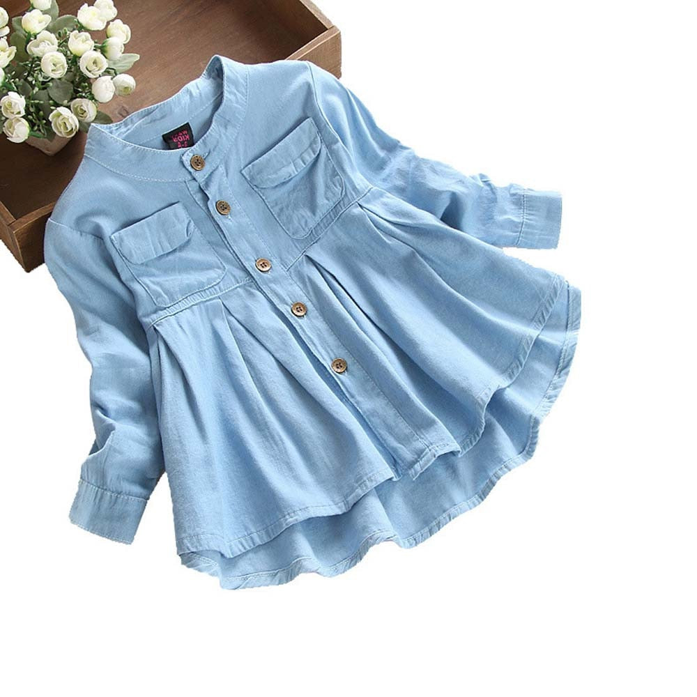 Girls Denim Ruched Long Sleeve Blouse