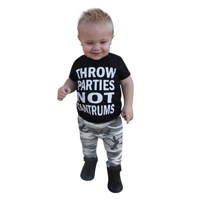 Boys Camouflage Pants T-Shirt Set