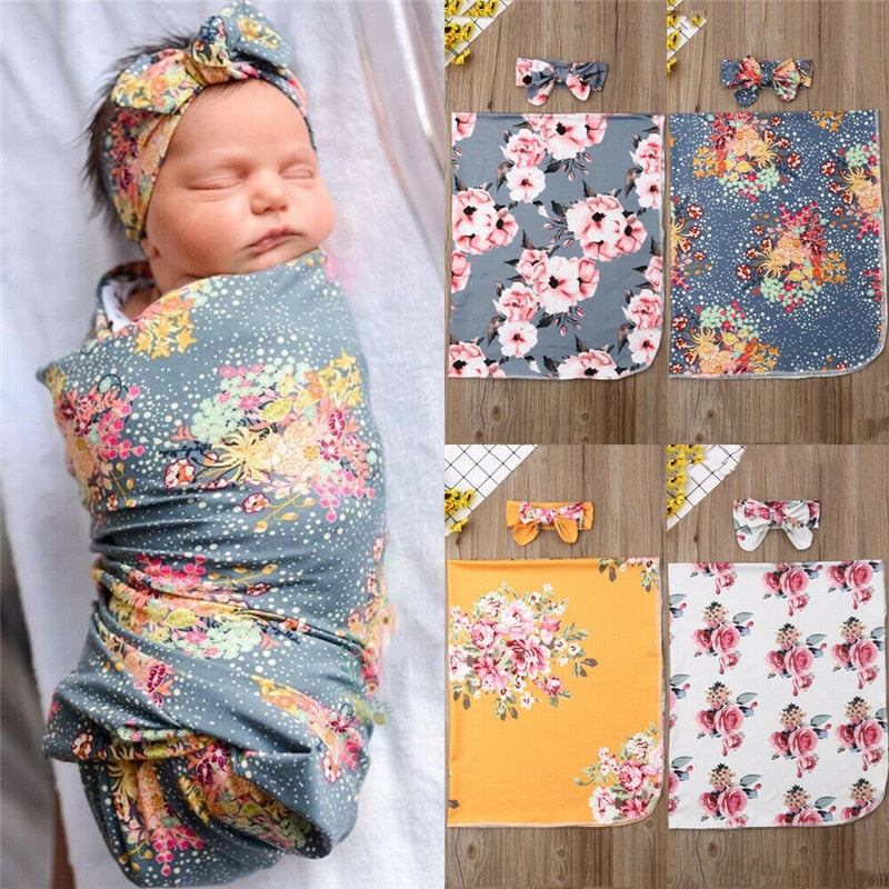 Newborn Floral Swaddle Blanket and Headband Set