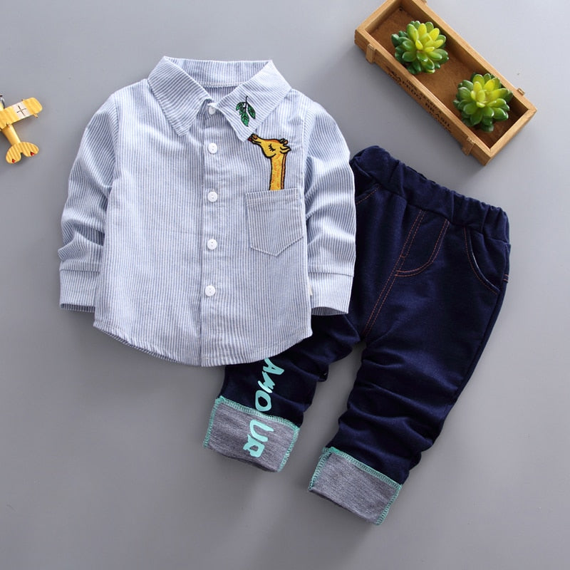 Boys Giraffe Pocket 2-Piece Set
