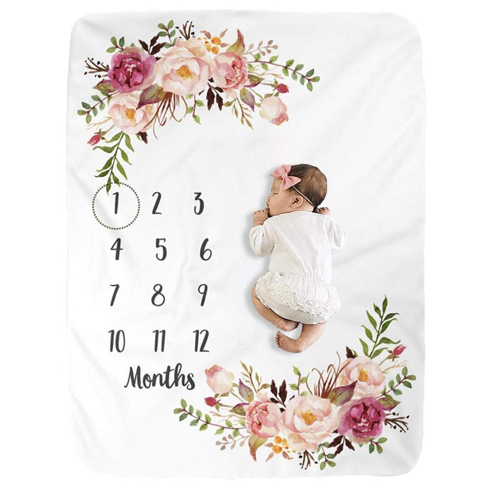 Rose Accented Milestone Photography Blanket