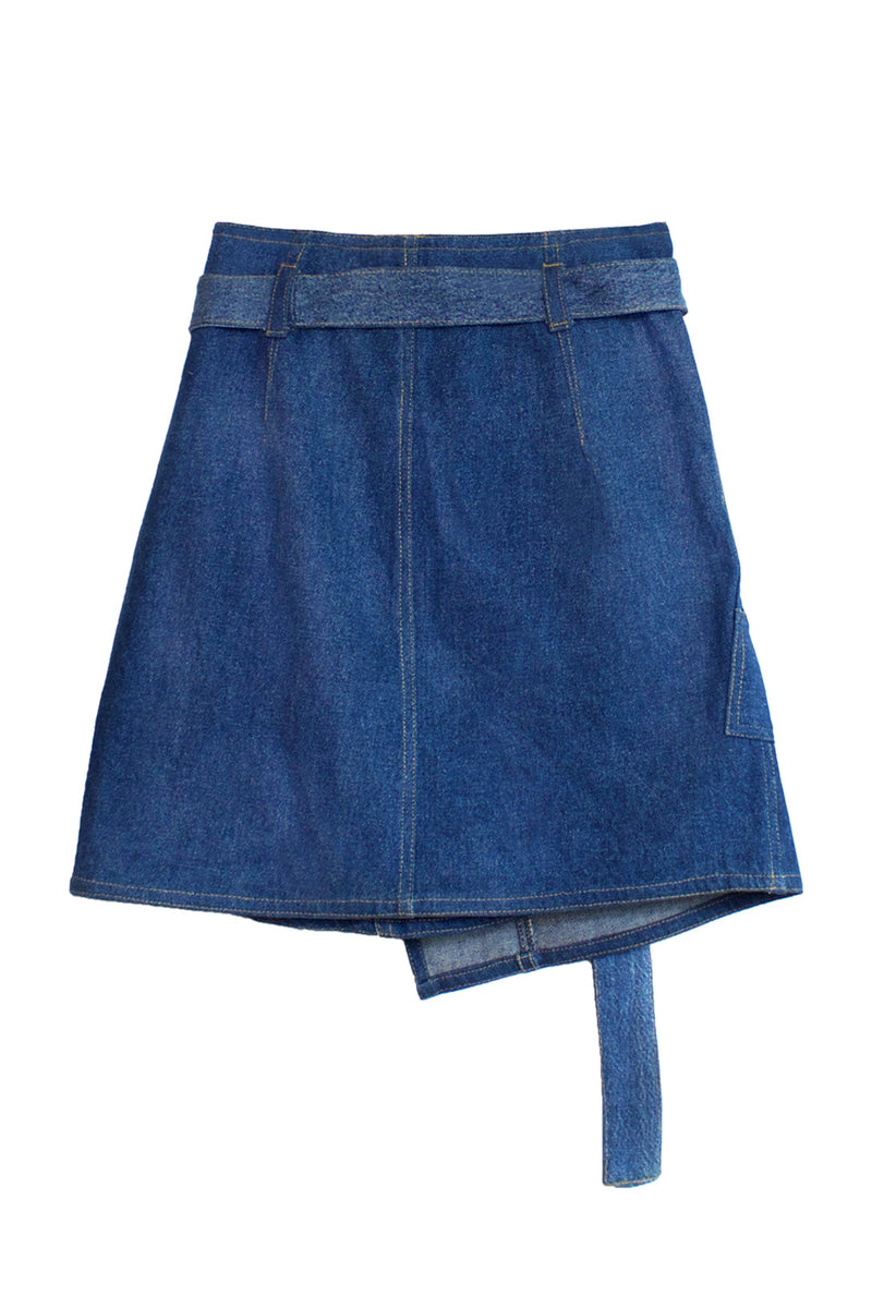 Repurposed Denim Cargo Wrap Skirt