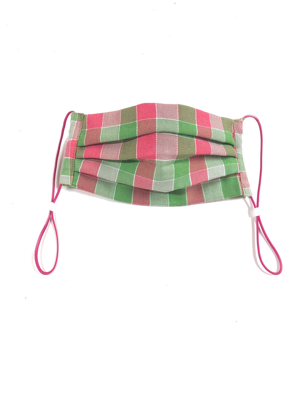 Face Mask in Pink and Green Check