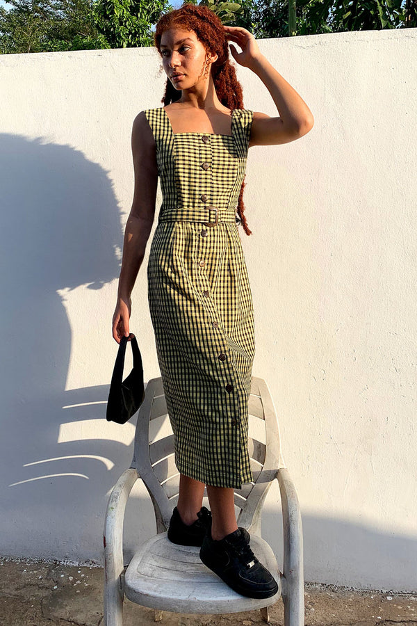 Asime Yellow Check Smock Dress
