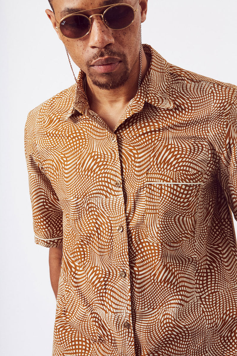 Asime Mens Short Sleeve Shirt in Optical Print