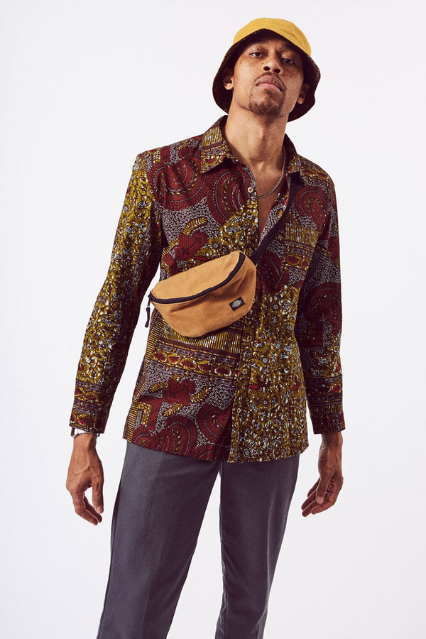 Asime Dark Paisley Mens Long Sleeve Shirt