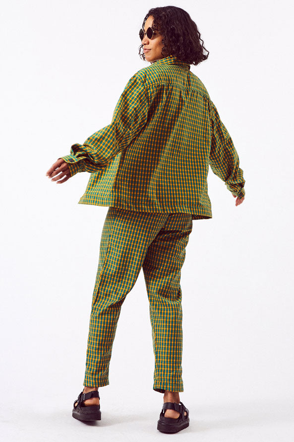 Asime Green and Yellow Check Unisex Work Jacket