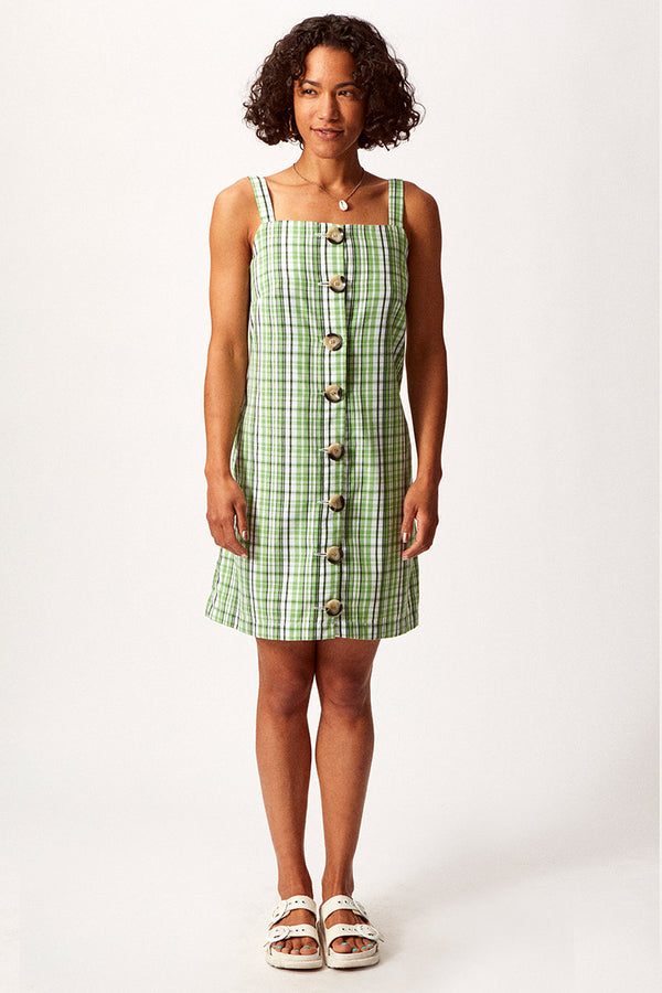 Asime Green Check Button Up Shift Dress