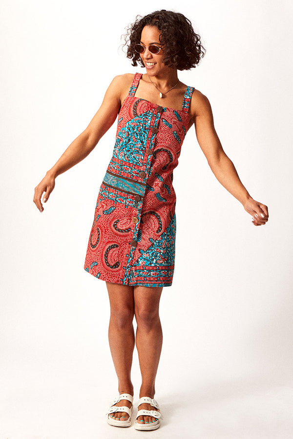 Asime Paisley Button Up Shift Dress