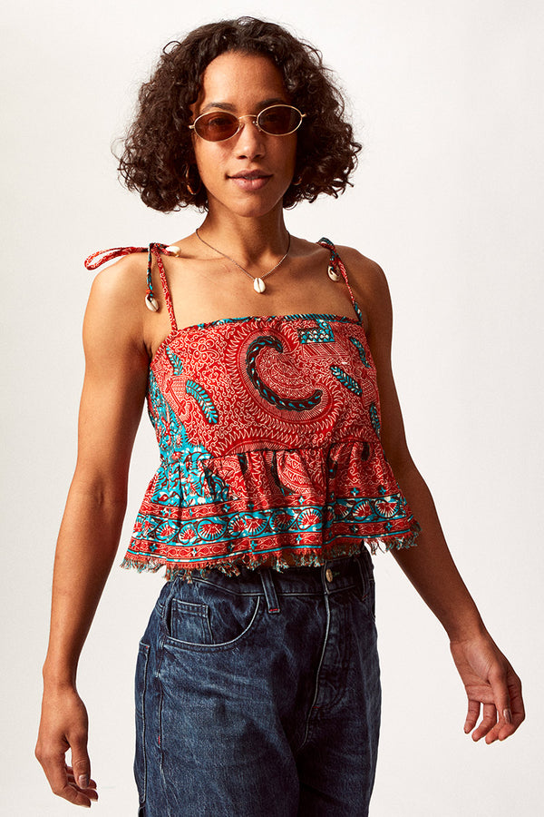 Asime Paisley Tie Back Top