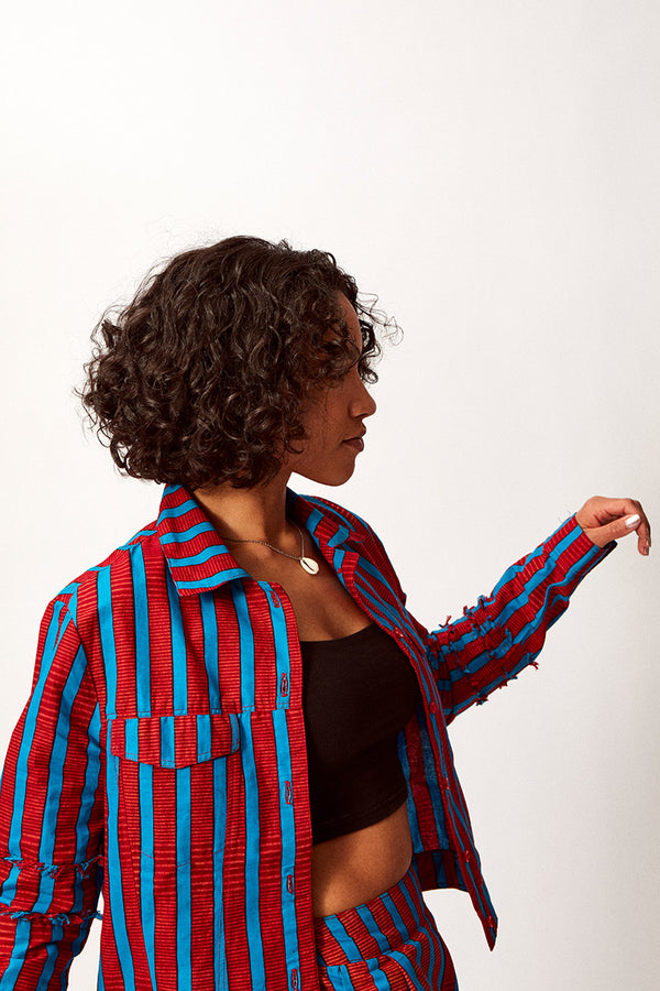 Asime Red and Blue Stripe Jacket
