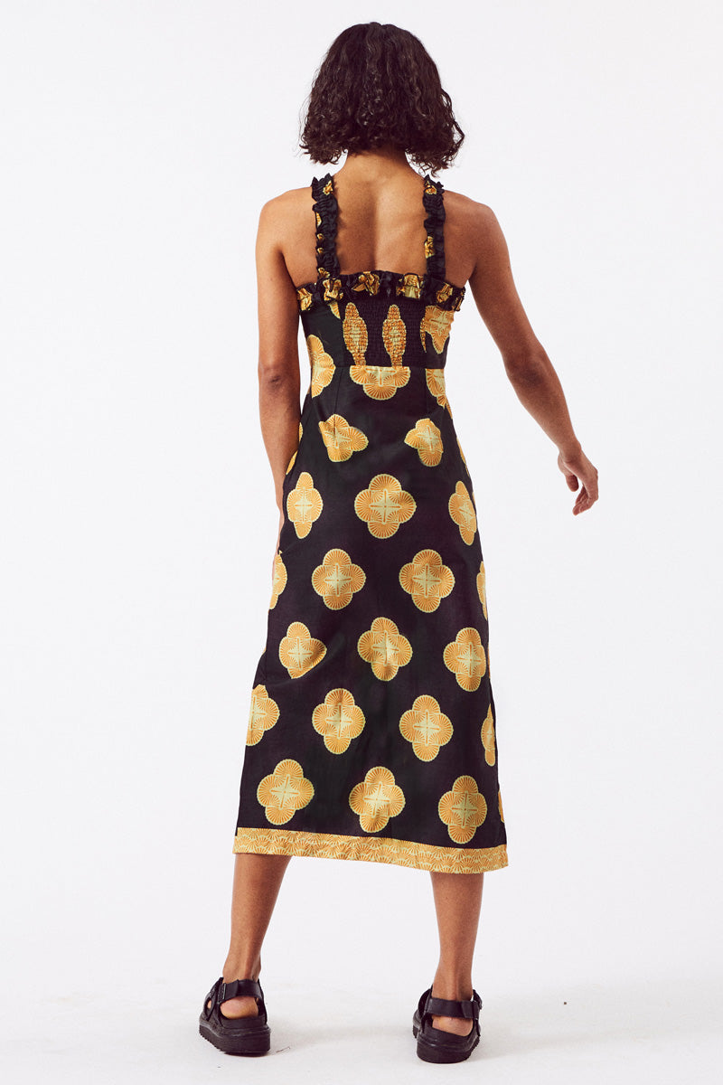 Asime Black and Yellow Frill Midi Dress