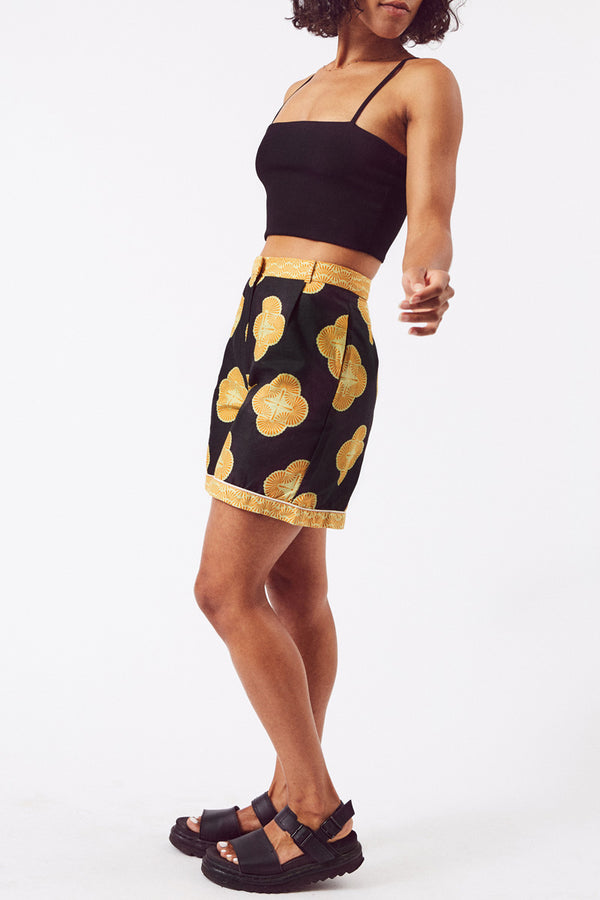 Asime Womens Black and Yellow High Waisted Shorts