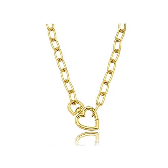 Gold Heart Link Necklace - 18k Gold Plated