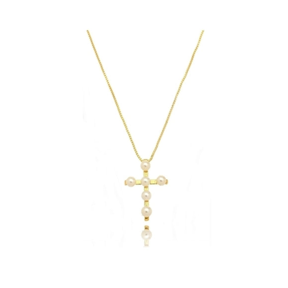 Pearl Crucifix Necklace - 18k Gold Plated
