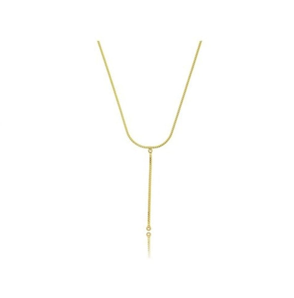 Crystal Tape Tie Necklace - 18k Gold Plated
