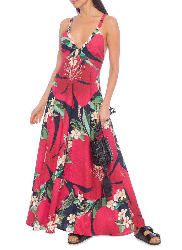 Farm Red Floral Long Dress