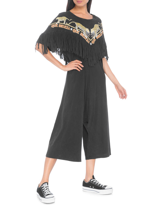 Farm Fringed Black Jumpsuit