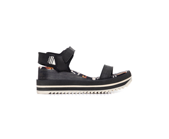 Farm Toucan Black Wedge Sandals
