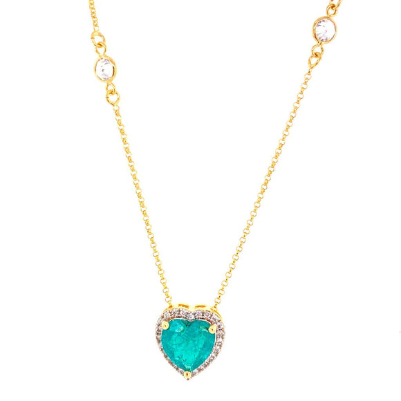 Tiffany Heart Detailed Gallery Necklace - Paraiba Light Fusion - 18k Gold Plated