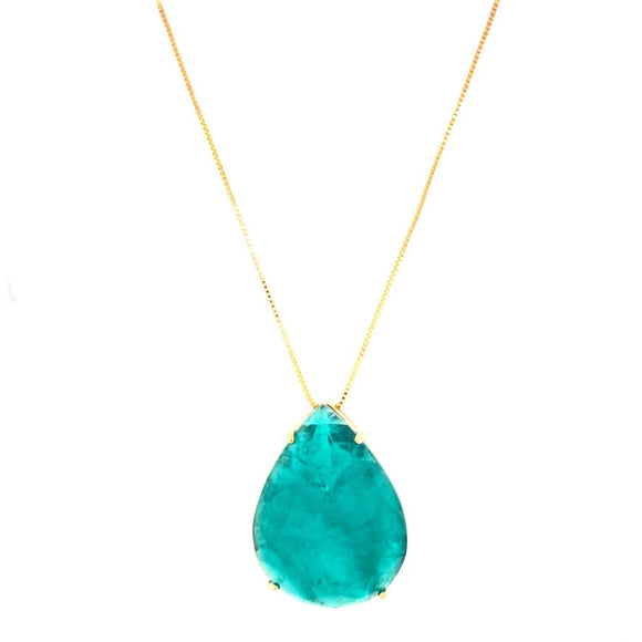 Magnificent Drop Necklace - Colombian Tourmaline Fusion - 18k Gold Plated