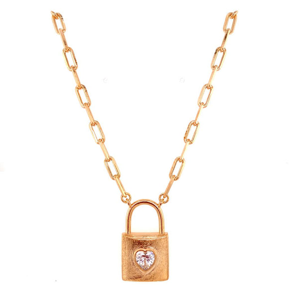Padlock Necklace with Crystal