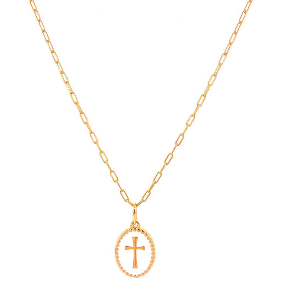 White Enamelled Cross Necklace